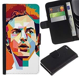 RenCase / Flip Funda Carcasa PU de Cuero para Apple Iphone 4 / 4S - Cartel Polígono Arte Individuo retro Hombre;