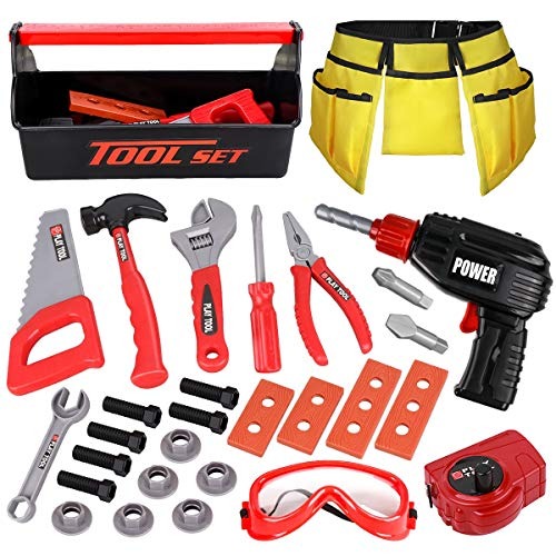 LOYO Kids Tool Set – Pretend Play Construction Toy with Tool Box Kids Tool Belt Electronic Toy Drill Construction…