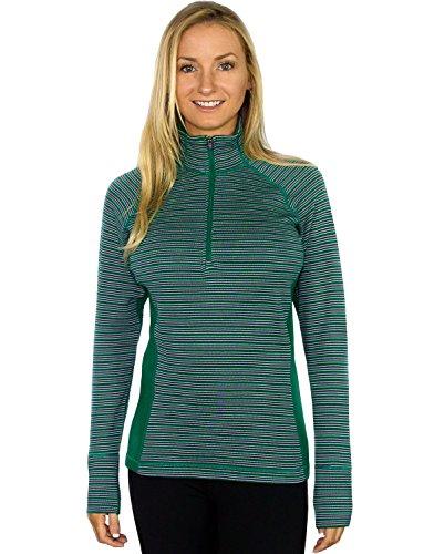 Woolx  Women's 1/4 Zip Merino Wool Top - Emerald Stripe - SX