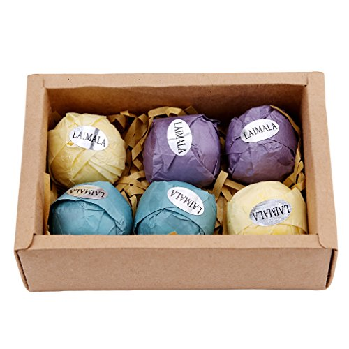 LAIMALA Bath Bombs Gift Set, Organic Natural Essential Oil, Ideal for Spa & Beauty, Skin Care, Stress Relief, 6pcs (Gift Baskets To Go)