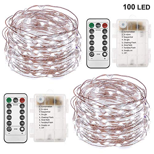(Twinkle Star 33FT 100 LED Copper Wire String Lights Fairy String Lights Battery Operated Waterproof 8 Modes LED String Lights with Remote Control Decor for Christmas Wedding Party Home, 2)