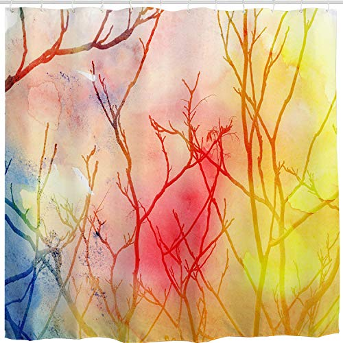 BROSHAN Colorful Tree Shower Curtain,Watercolor Abstract Tree Christmas Art Print Shower Curtain,Polyester Waterproof Fabric Bathroom Accessories with Hooks,72x72 inch,Multi Color