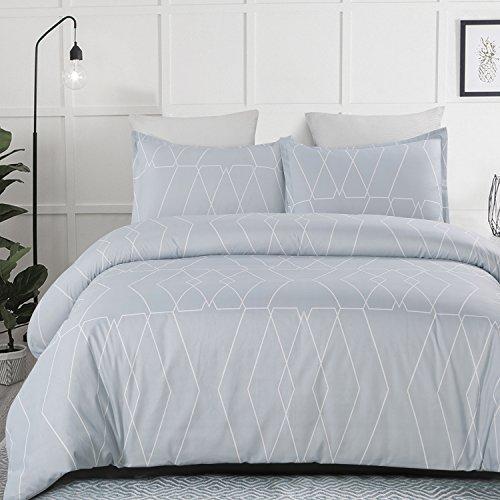 Vaulia Lightweight Microfiber Duvet Cover Set, Geometric Pattern Design, Spa Blue - King Size