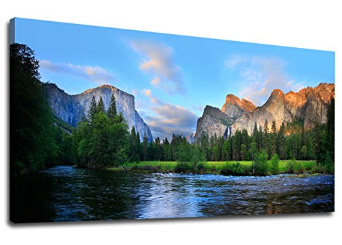 Canvas Wall Art Panorama of Yosemite Valley Painting Canvas Artwork Lake Mountain National Park Nature Pictures Framed Wall Art for Living Room Bedroom Office Wall Decor Home Decoration 20