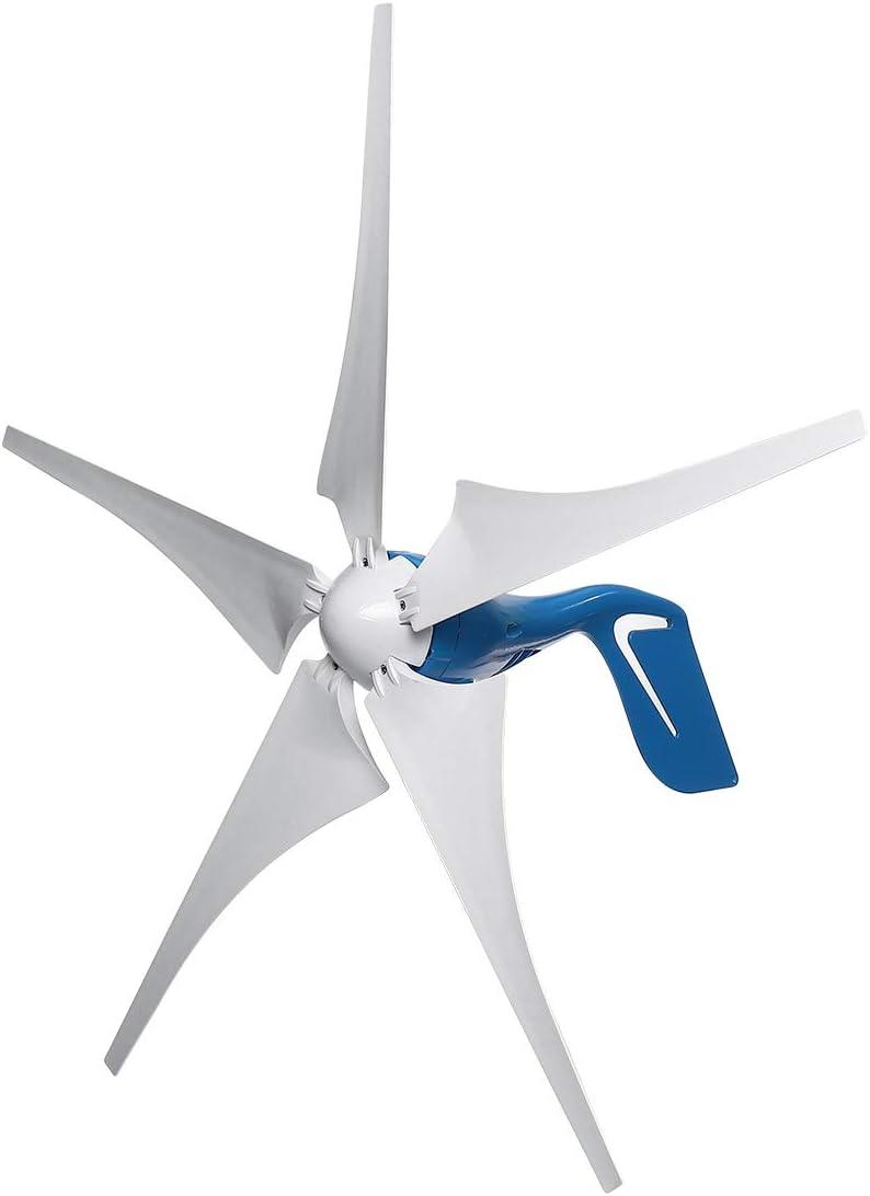QWERTOUY 5000W generador de Viento 12V / 24V 5 Cuchillas de Viento generador de Electricidad de la energía eólica con el regulador Pala de aerogenerador,12v