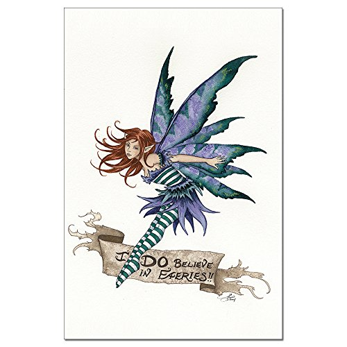 Tree-Free Greetings EcoNotes 12-Count I Do Believe in Faeries Blank Notecard Set with Envelopes, Featuring Amy Brown Fairies (FS64548) ()