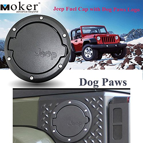 Moker Aluminum Powder-Coated Fuel Filler Door Cover Gas Tank Cap with Dog Paws Logo fits all Jeep Wrangler 2007 thru 2016 Models - Gas Fuel Tank Cover