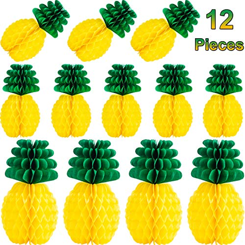 Tanlee 12 Pieces Tissue Paper Pineapples 8 Inch 12 Inch Pineapples Honeycombs Centerpieces Summer Party Hanging Supplies for Hawaiian Birthday Party Tropical Luau Party