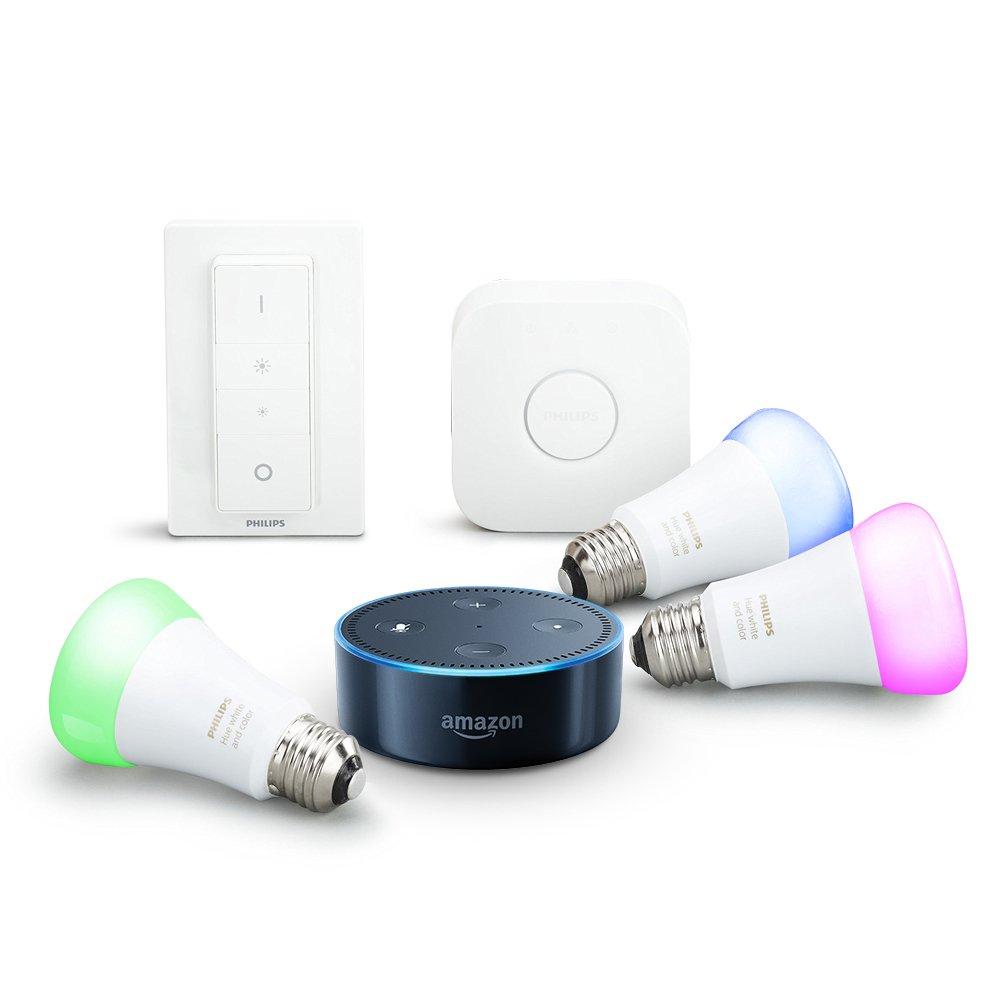 Amazon Echo Dot 2eme Generation Noir Kit De Demarrage Philips Hue White Color E27 3 Ampoules Pont Connexion Telecommande Amazonfr