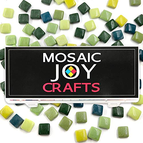 Mosaic Tiles Mixed 6 Color Green Mosaic Stained Glass Square Pieces Supplies for DIY Crafts Home Decoration Size 12mm by Mosaic Joy (11 oz, Green Mixed) ()