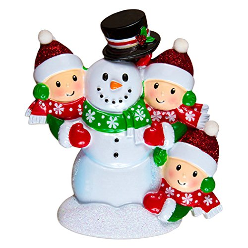 Ornament Snowball - Personalized Building Snowman Family of 3 Christmas Tree Ornament 2019 - Parent Child Friend Red Hat Play Snowball Holiday Tradition Winter Activity 1st Gift Year - Free Customization (Three)