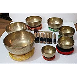 Chakra Healing Tibetan Singing Bowl Set of 7 Hand Hammered Himalayan Meditation Bowls From Nepal