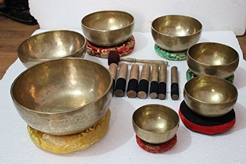 """Chakra Healing Tibetan Singing Bowls Set of 7 pieces ~ Hand Hammered Himalayan Meditation Bowls ~ 5""""-10"""" ~ included 7 Mallets, 7 cushions & 1 drum stick. Handmade in Nepal by Thamelmart"""