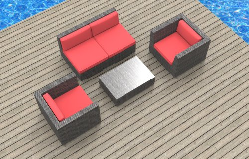 Urban Furnishing - Belize 5c Ultra Modern Outdoor Backyard Wicker Patio Furniture Sofa Sectional Chair 5pc All-Weather Couch Set - coral red