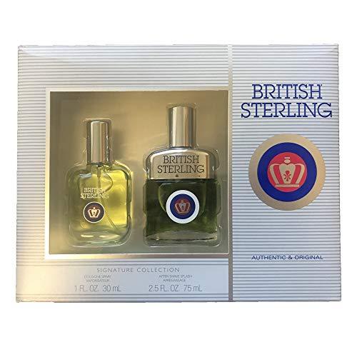 Splash Sterling Cologne British (British Sterling Authentic And Original Gift Set For Men Cologne Spray, After Shave Splash)