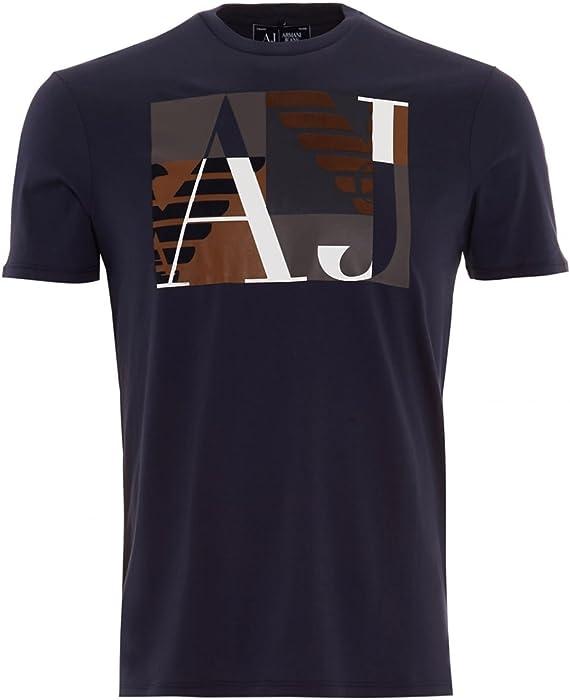 cfa530e999 Armani Jeans Mens T-Shirt Navy Square AJ Logo Print Tee: Amazon.co.uk:  Clothing