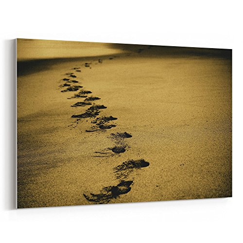 Westlake Art - Footprint Sand - 12x18 Canvas Print Wall Art - Canvas Stretched Gallery Wrap Modern Picture Photography Artwork - Ready to Hang 12x18 Inch (B00D-D8EF9)