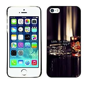 PC/Aluminum Funda Carcasa protectora para Apple Iphone 5 / 5S Life Is Short Quote Enjoy Motivational / JUSTGO PHONE PROTECTOR