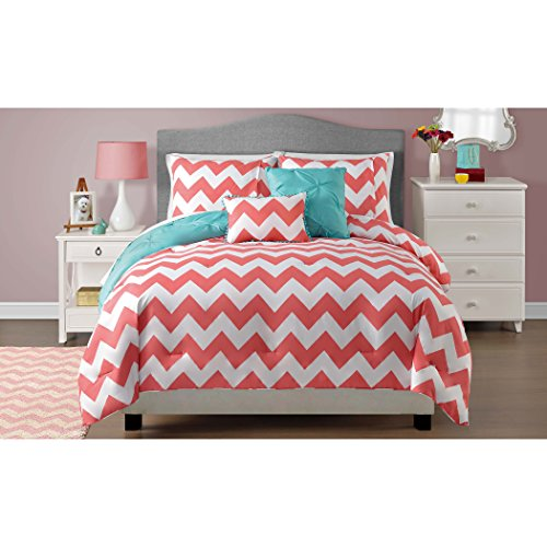 5 Piece Coral Chevron Print Bedding Comforter Set with Re...