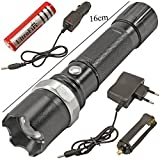 SWAT Multifunction Rechargeable LED 50W Flashlight Torch with LUXEON 3 Watt LED Bulb + AC Adaptor + 12V DC Car Charger + Rechargeable Battery