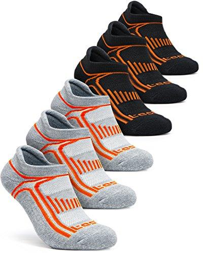Tesla TM-MZS05-KGO_L Men's 6-Pairs Atheltic No Show Socks Cushioned Comfort w Mesh MZS05