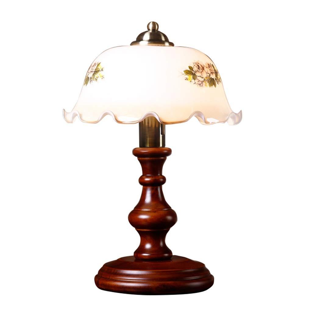 Amerikanischen Tischlampe Beleuchtung für Schlafzimmer Wohnzimmer Dekoration Nachttischlampe Schreibtischlampe Studie lösen E27 Auge Pflege   Glass Lamp Shades Holzbasis (Größe   Dimming Switch)
