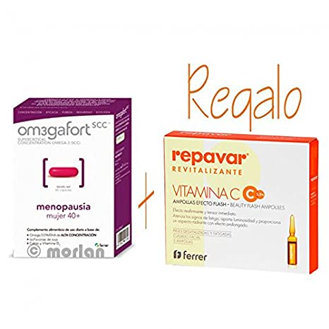 Omegafort Menopausia, 60cápsulas+Regalo Ampollas Efecto Flash, 5 Ampollas: Amazon.es: Salud y cuidado personal