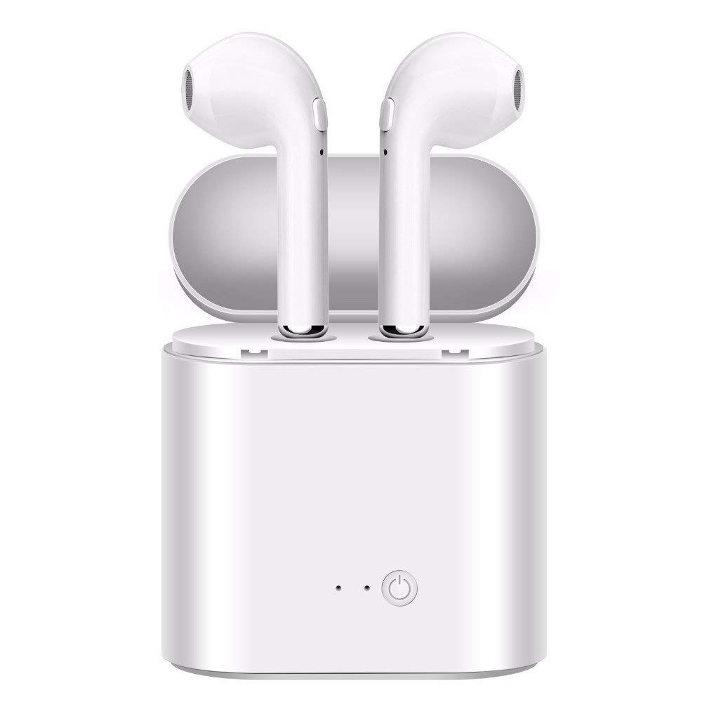 Padear Double Ear Wireless Bluetooth Earphone - White Earbuds for iPhone and Android