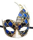 Men's Masquerade Mask Vintage Venetian Checkered Musical Party Mardi Gras Mask (Blue/Black1)