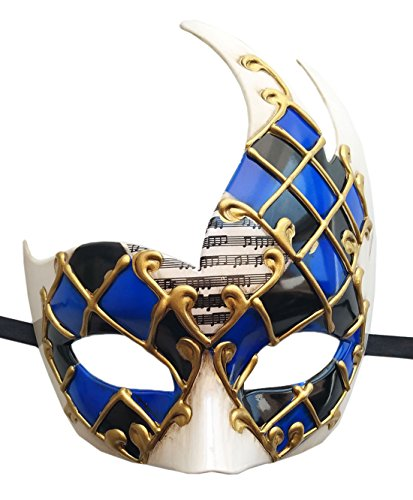 (Coolwife Men's Masquerade Mask Vintage Venetian Checkered Musical Party Mardi Gras Mask (Blue/Black)