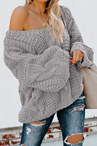 Ecrocoo Women's Off Shoulder Long Sleeve V-Neck Ribbed Cable Pullover Sweaters Loose Fitting Jumper Tops