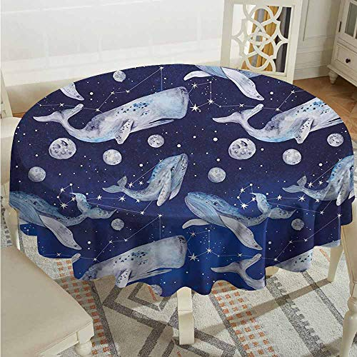 ScottDecor Waterproof Round Tablecloth Whale Fishes and Planets Hovering Amongst Stars in Outer Space Cosmos Illustration Navy Purple Grey Dinning Tabletop Decoration Diameter 50