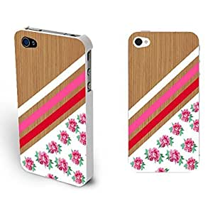 Retro Pink Rose Pattern Plastic Protector Skin Phone Case For Iphone 4/4S Cover