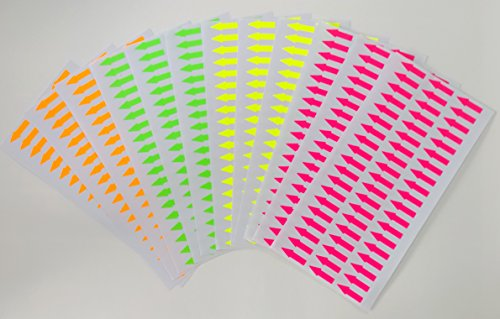 Fluorescent paper arrow label sticker, length 1.0 inch (25mm.), self-adhesive, blank and writable, multi-purpose, art & craft, 4 colors (orange, pink, yellow, green), 12 sheets 684 labels (FL35)