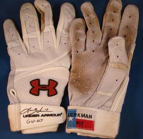 Lance Berkman Signed 2007 Game Used Batting Gloves Astros - MLB Autographed Game Used Gloves