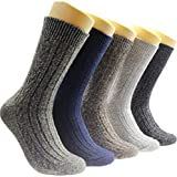 Qiangyu Pack of 5 Mens Winter Soft Warm Thick Knit Wool Vintage Casual Crew Socks (multicolor-01)