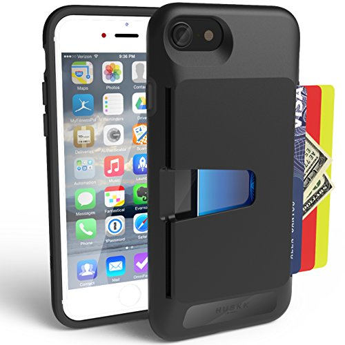 iPhone 8 / iPhone 7 Wallet Case - Slim Card Holder - Upto 4 Cards with Scratch Resistant Drop Shock Protection by HUSKK