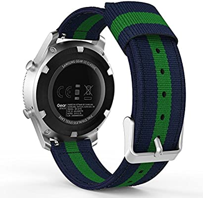 MoKo Gear S3 SmartWatch Correa - Reemplazo & Adjustable Nilón Strap Band, Azul & Verde