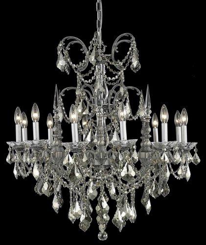 Athena 12 Light Chandelier Finish / Crystal Color / Crystal Trim: Pewter / Golden Teak (Smoky) / Royal Cut -