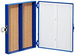 Heathrow Scientific HD15994A Blue Cork Lined 100 Place Microscope Slide Box, 8.25\