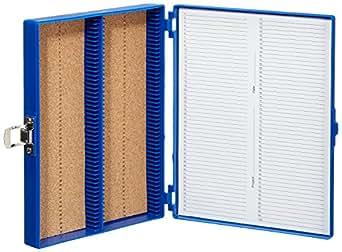 Heathrow Scientific HD15994A - Caja para portaobjetos (revestimiento interior de corcho, capacidad: 100 portaobjetos, longitud x anchura x altura: 208 mm x 175 mm x 34 mm), color azul