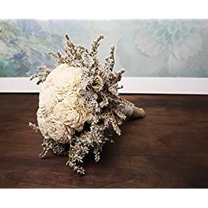 Set of 5 Small Rustic Wedding Bridesmaids Bouquets Made of Ivory Flowers Dried Limonium Burlap Lace and Pearl Pins 4