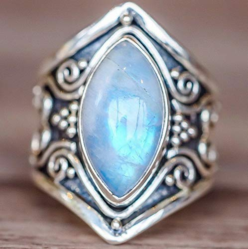 Waldenn Natural Moonstone 925 Silver Ring Men Women Jewelry Gemstone Wedding Size 6-10 | Model RNG - 14849 | 7