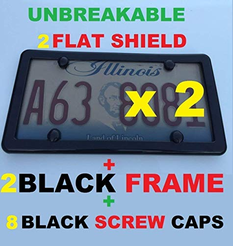 Trunknets Inc 2 Black Frames + 2 Flat Unbreakable Tinted Smoke License Plate Shield Cover + 8 Black Screw Caps