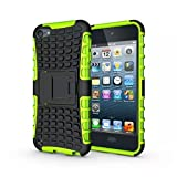 IPod Touch 5/6 Case, LUOLNH 2 in 1 Hybrid Armor Cover Tough Protective Hard Kickstand Phone Case for Apple iPod touch 5th/6th Generation(Green)