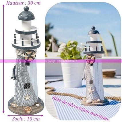 Leuchtturm Deko aus Holz gekalkt weiß und dunkelblau, mit ...