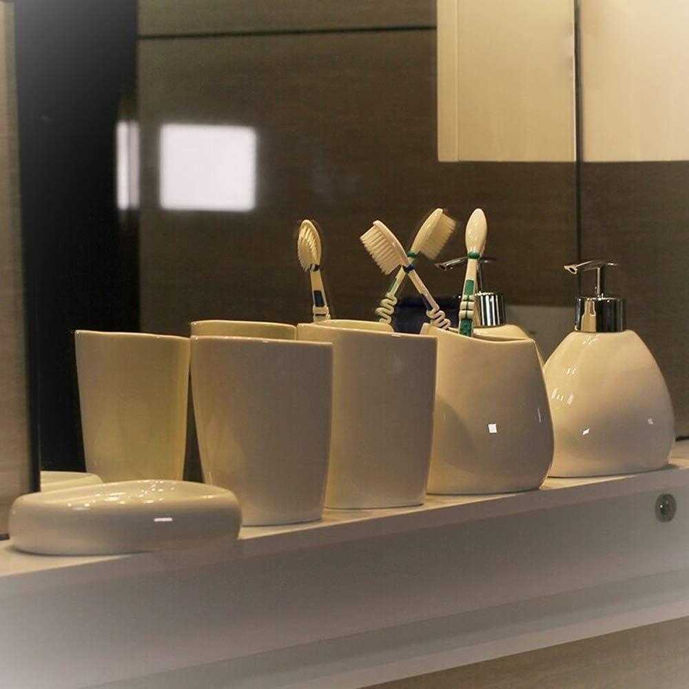Badezimmer Set aus Seifenschale und Zahnputzbecher-Badzubeh/ör mit Seifenschaumspender Zahnb/ürsten-Halter wiederbef/üllbar.f/ür Hotel /& Hause XBAO Keramik Badutensilien, 5-teiliger Anzug