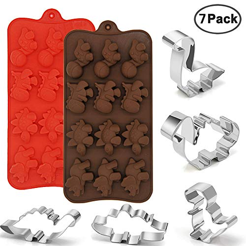 IHUIXINHE 2 Pack Silicone Dinosaur Molds 5 Pack Stainless Steel Cookie Cutters, Food Grade Non Stick Chocolate Mold, Party Supplies Decorations Handmade Cookie,Kids Birthday Cookie Dinosaur Favors
