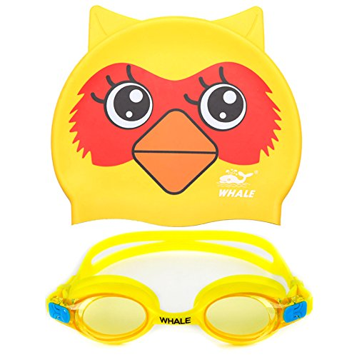 Kids Swim Goggles + Swimming Cap(Age 2 12),Anti fog UV Protection Goggles for Kids,Silicon Animal Owl Design Kids Swimming Cap
