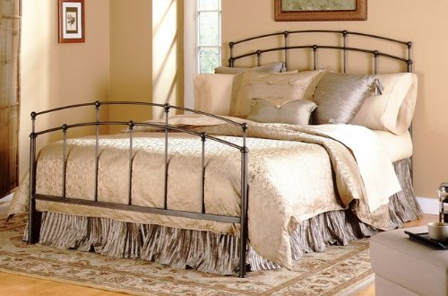 - Fashion Bed Group 3/3 Fenton Complete Bed with Metal Duo Panels and Globe Finials, Black Walnut Finish, Twin